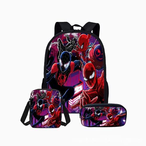 Aatensou - Mochila de Spider Man ajustable, mochila escolar, superhéroes, mochila de anime 3D, juego de mochila escolar (mochila + bolsa + estuche).