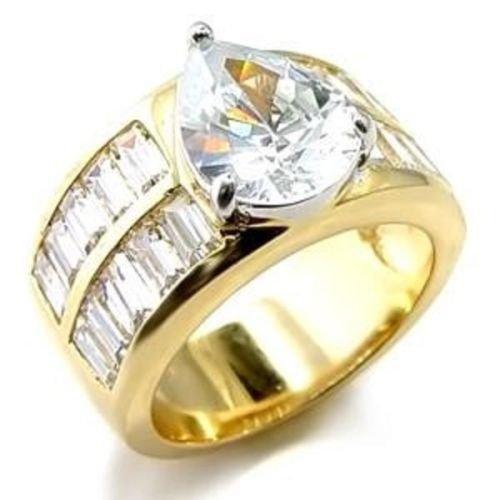 Yourjewellerybox - Anillo con detalle de diamante falso - 18ct bañado en oro amarillo, talla 16,5 (18 mm)