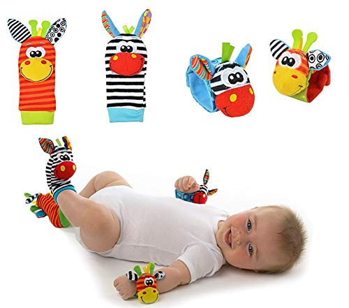 Avos-Deals-Global Baby Rattle Socks Wrist Strap Rattles Set, Cute Baby Animal Development Toy Gift for Newborn Babies Foot Finder Sensory Set