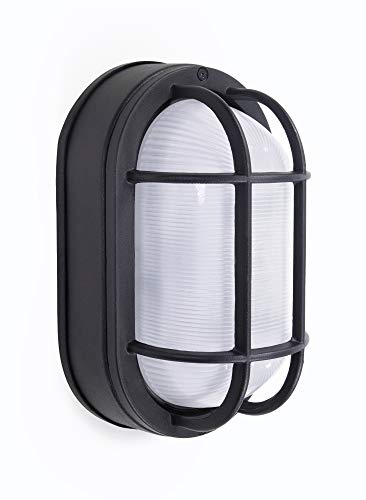 """CORAMDEO Outdoor 8.5"""" Oval LED Nautical Bulkhead Light, Flush Mount for Wall or Ceiling, Wet Location, 75W of Light, 800 Lumens, 3K, Black Cast Aluminum with Frosted Glass Lens"""