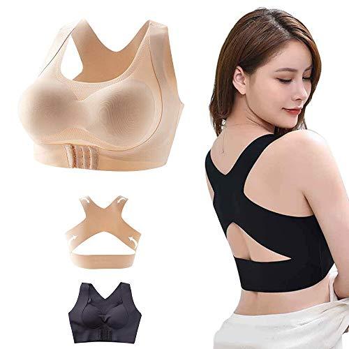 2pcs Posture Corrector, 2-in-1 Kyphosis Correction BH Brust Anti Sagging Seamless Back Shaper für Frauen (schwarz, XXL 67.5-75 kg)