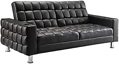 Surprising Amazon Com Abbyson Jackson Leather Foldable Sleeper Sofa In Onthecornerstone Fun Painted Chair Ideas Images Onthecornerstoneorg