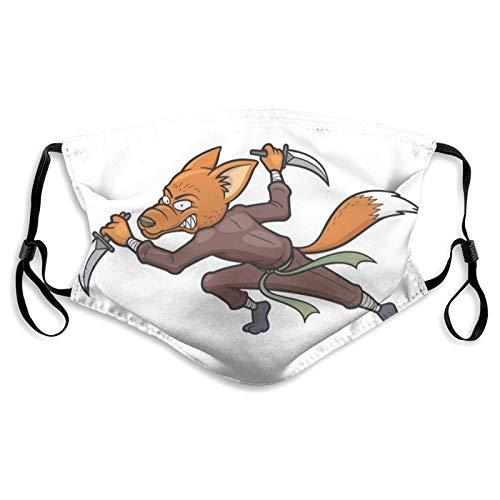 MayBlosom Ninja Fox Gesichtsabdeckung Mundschutz Halstuch Unisex Winddicht Atmungsaktiv Wiederverwendbare Anti-Staub-Schild