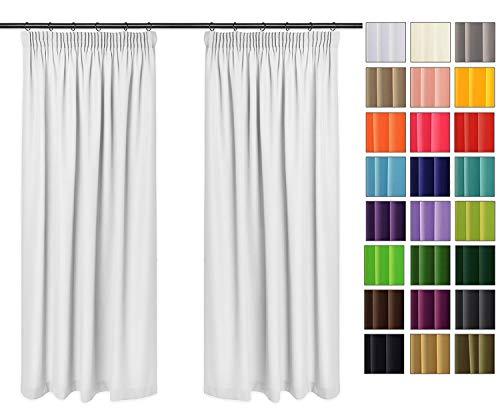 Rollmayer Vorhänge mit Bleistift Kollektion Vivid (Weiß 1, 135x150 cm - BxH) Blickdicht Uni einfarbig Gardinen Schal für Schlafzimmer Kinderzimmer Wohnzimmer
