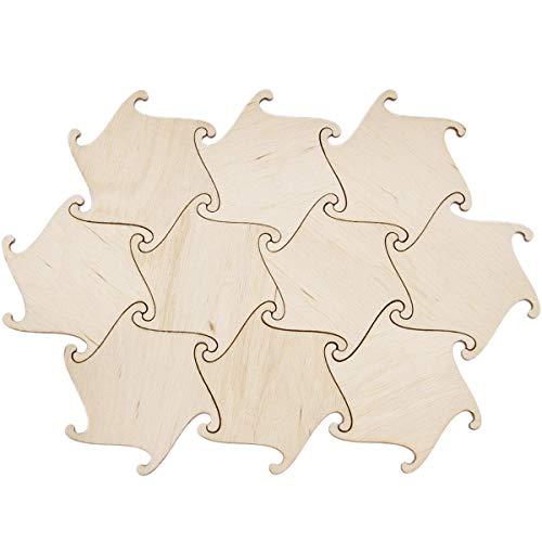 Paquete de 10 posavasos de madera con diseño de cerveza en puzle de 6,5 x 6,5 cm