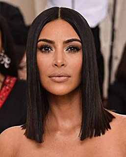 Joywigs KimKardashian Long Bob Wig Human Hair Define Deep Middle/Left/Right Parting Invisible Lace Front Wig 150% Density Same Length Blunt Cut Bob Lace Wig 14inch Natural Color