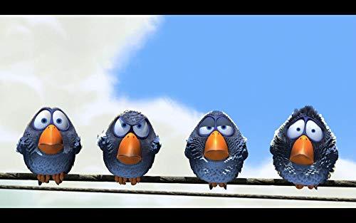 Jigsaws Puzzel,Puzzels Vier Blauwe Schattige Vogels,Diy Houten Puzzle 300 Stukjes, Legpuzzels Voor Volwassen Kinderspeelgoed (38 * 26Cm)