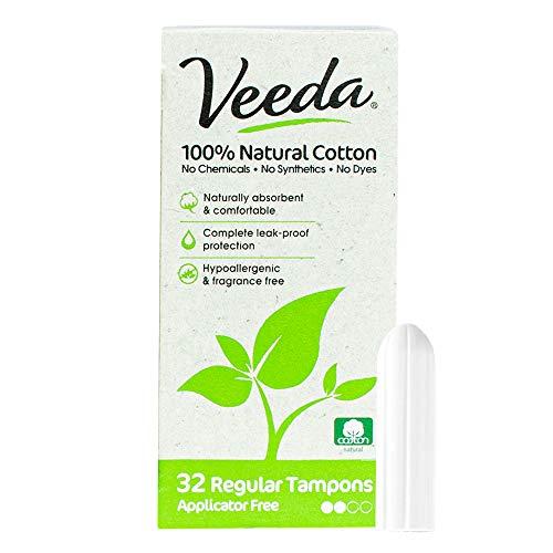 Veeda 100% Natural Cotton Applicator Free Regular Tampons, Unscented, 32 Count
