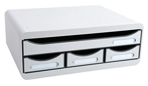 EXACOMPTA ツールボックス 収納ケース レターケース オーガナイザー (ライトグレー, 4ドア)