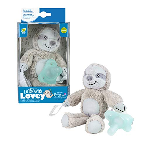 Dr. Brown's Lovey Pacifier & Teether Holder, 0 Months Plus, Sloth with Aqua Pacifier