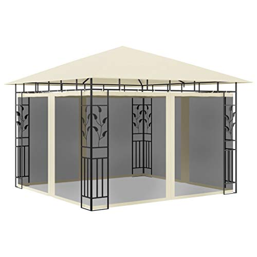 vidaXL Gazebo with Mosquito Net Outdoor Canopy Sunshade Shelter Patio Pavilion Awning Marquee Wedding Party Tent 3x3x2.73m Cream 180g/m²