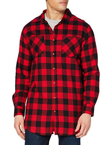 Urban Classics Herren Side-Zip Long Checked Flanell Shirt Freizeithemd, Multicoloured (Blk/red 00044), L