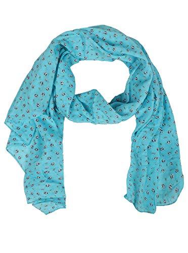 Zwillingsherz Seiden-Tuch Damen Blumen Muster - Made in Italy - Eleganter Sommer-Schal für Frauen - Hochwertiges Seidentuch/Seidenschal - Halstuch und Chiffon-Stola Dezent Stilvoll türkis