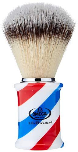 """Omega 46735 - Pennello da Barba in Fibra""""Hi-Brush"""" Barber Pole, Blu"""