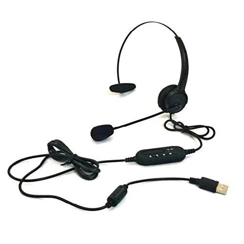 Auriculares de ordenador con micrófono USB Traffic Headset Puerto USB Cancelación de ruido Micrófono y controlador de volumen Auriculares con micrófono giratorio para PC