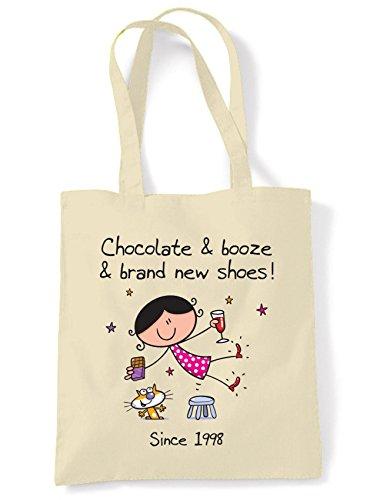Tribal T-Shirts Cioccolato Booze e scarpe nuovissime di zecca Tote borsa della spesa a tracolla