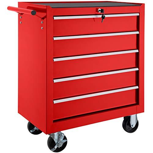 TecTake Werkzeugwagen mit 5 Schubfächer | Abschließbar | Mobiler Werkstattwagen - diverse Farben - (Rot | Nr. 402796)