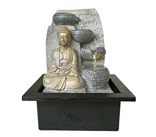 Dehner Zimmerbrunnen Steine mit LED Beleuchtung, ca. 25 x 17.5 x 21 cm, Polyresin, grau