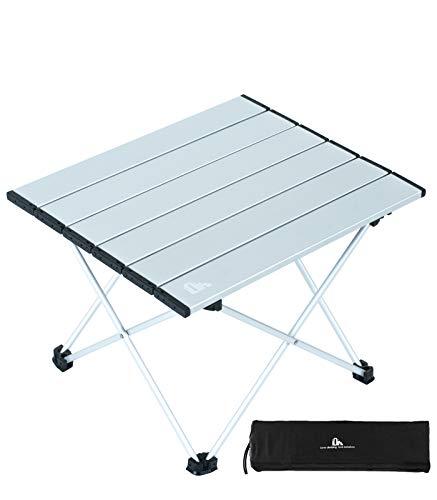 iClimb アウトドアテーブル ミニローテーブル キャンプ テーブル 折畳テーブルアルミ製 耐荷重30kg 超軽量 コンパクトソロキャンプ BBQ 登山 ツーリング 収納袋付き (シルバー-M)