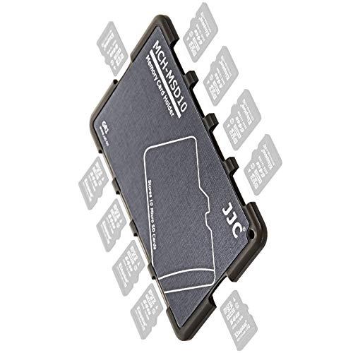Soporte para Tarjeta De Memoria | Extremadamente Compacto | Caja De Almacenamiento En Formato De Tarjeta De Crédito para 10 x MicroSD | Gris