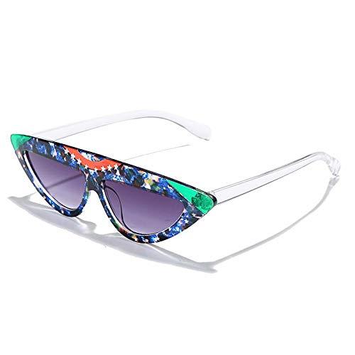 ZZOW Gafas De Sol Triangulares A La Moda con Forma De Ojo De Gato para Mujer, Gafas con Lente Degradada con Patrón De Estrella Único, Gafas De Sol Retro para Hombre, Sombra Uv400