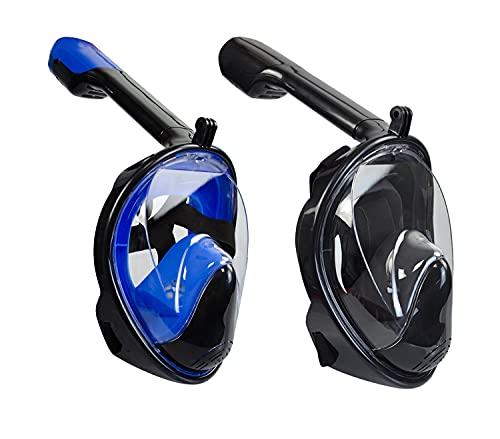 Maschera integrale per immersioni 2 confezioni , maschera integrale da snorkeling pieghevole, per respirare senza problemi, nessuna appannamento, nessuna penetrazione di acqua