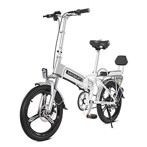 Hxl elektrische fiets 20 inch draagbare elektrische fiets voor volwassenen met 48 V lithium-ion accu E-bike 400 W krachtige motor, lichtgewicht aluminium vouwwielen, snelheid ca. 25 km/h, wit.