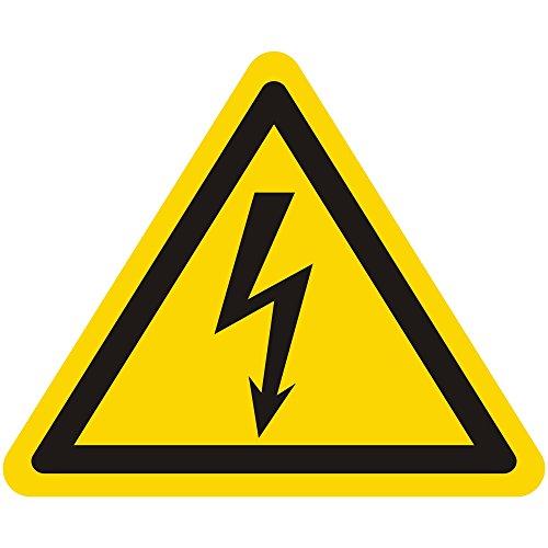 Labelident Warnaufkleber W012 - Warnung gefährliche elektrische Spannung - Seitenlänge: 50 mm - 100 selbstklebende Warnzeichen in 1 Packung, Vinyl Folie selbstklebend