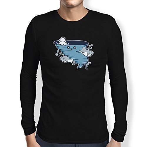 Texlab - Cute Shark Tornado - Langarm T-Shirt, Herren, Größe XXL, schwarz