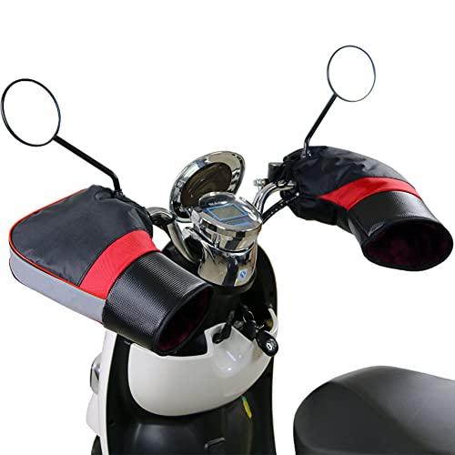 HE TUI Orejeras De Manillar De Motocicleta Guantes Impermeables De Invierno con Tira Reflectante, Manoplas Térmicas De Protección De Manos para Motocicletas, Motocicletas Y Scooters