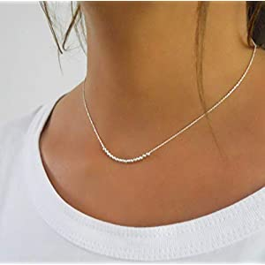 Dainty Sterling Silver Necklace With Beads – Handmade