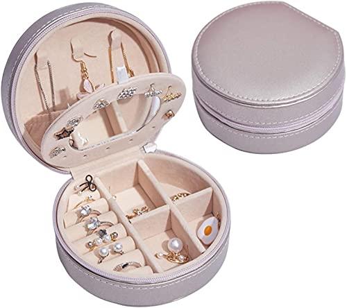 Recet Joyero redondo, forro de terciopelo, piel sintética, estuche de viaje, mini organizador de joyas para anillos, pendientes (bola de champán, con espejo)