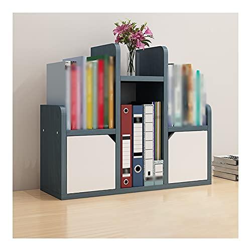 Estantes de escritorio para almacenamiento de estanterías de oficina, organizador de escritorio, mini estantería para casa, oficina, escuela, dormitorio (color: azul)