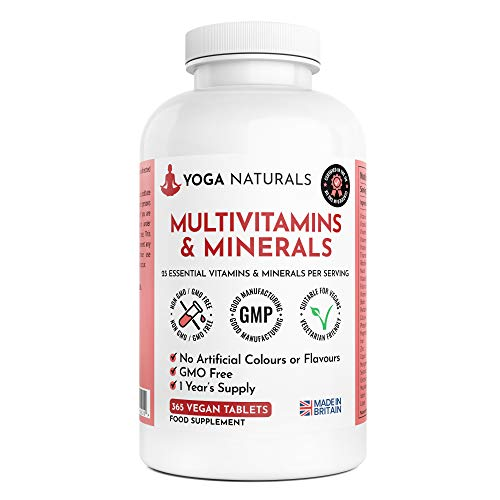 Multivitamins & Minerals | 365 Vegetarian Multivitamin Tablets 1 Year Supply for Men and Women with 25 Essential Active Vitamins & Minerals | Made in The UK by Yoga Naturals