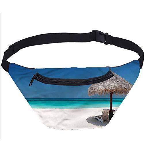 Coastal Fanny Pack,Sunbeds in Azure Shoreline Waist Bag for Raves and Festivals