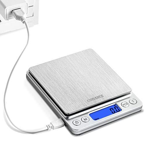 CHWARES Báscula de cocina digital con carga USB, báscula digital de 0.1g/3...