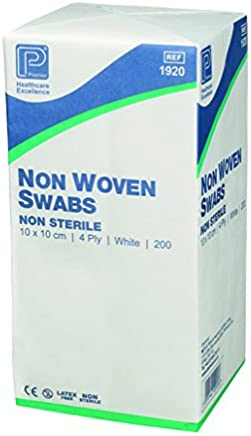 Premier 1915 Non-Sterile Non-Woven Swabs 4 Ply 7.5 cm x 7.5 cm White Paper Packs (Pack of 200)