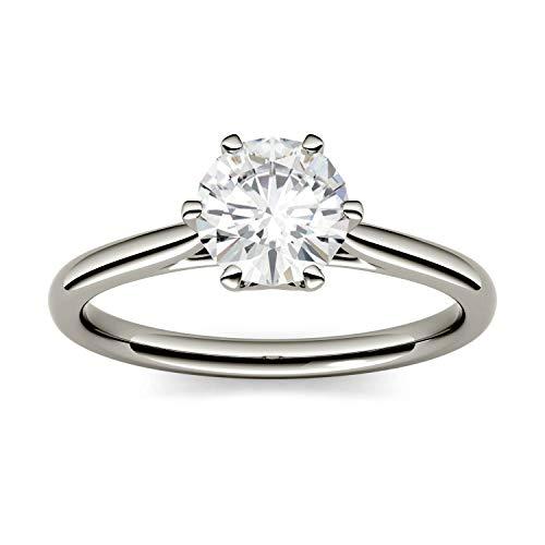 Charles & Colvard Forever One anillo de compromiso - Oro blanco 14K - Moissanita de 8 mm de talla redonda, 1.9 ct. DEW, talla 12
