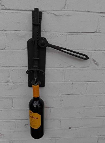 Deko-Impression Origineller Wand- Weinflaschenöffner Korkenzieher Gusseisen schwarz