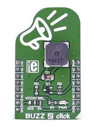 MikroElektronika Sensor, Buzz 2 Click, Elektromagnetischer Signalgeber-Umformer, PWM, Zusatzplatine