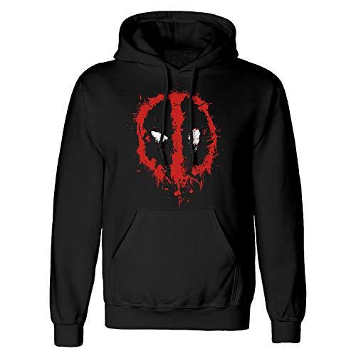 Marvel Deadpool Splat Face męska bluza z kapturem | oficjalny towar | S-XXL, prezenty marvele, bluza z kapturem Avengers, pomysł na prezent urodzinowy, Czarny, 3XL