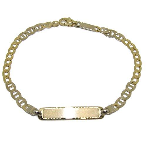Braccialetto per comunion in oro bicolore 18 ktes con piastra. 17 cm NEVER Say Never