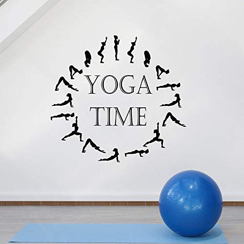 Yoga Posture Clock Yoga Time Logo Sign Etiqueta de la pared Vinilo Art Decal Dormitorio Sala de meditación Sala de estar Yoga Studio GYM Club Decoración para el hogar Mural