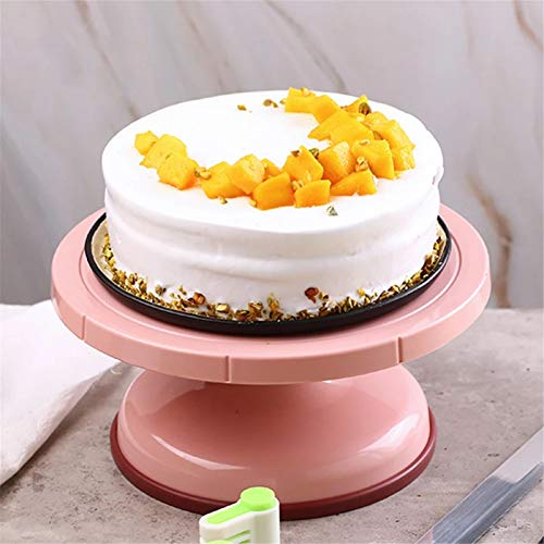 Goodvk Soporte de Pastel DIY Turntable Turntable Stain Home Cake Shop No-Slip ABS Hornear Pastel de Torta giratoria Decoración de Banquetes (Color : Pink, Size : 26.5x12.7cm)