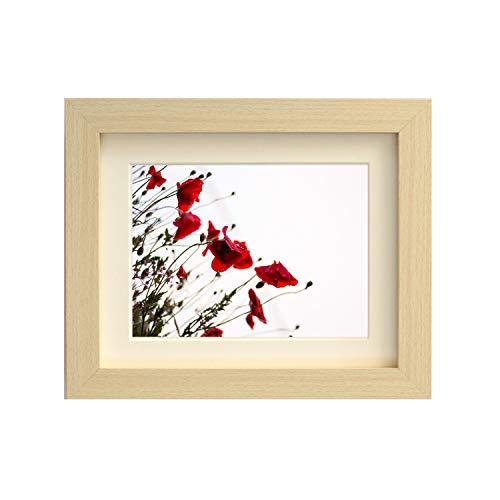 Getailleerd frames-maple vierkant design fotolijst afmeting 40 x 40 cm voor 30 x 30 cm met antiek witte passe-partout, om op te hangen.