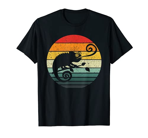 Camaleón Retro Sunset Vintage Diseño Camiseta