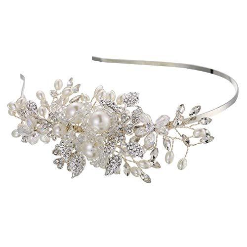 HPYBST sposa copricapo, Handmade Pearl cerchietti per le donne di nozze strass fascia per capelli avorio da sposa capelli Jewlery