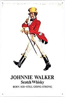 """Tin Sign Metal Poster Plate (8""""x12"""") of Johnnie Walker Whiskey Still Going Strong by Food & Beverage Decor Sign"""