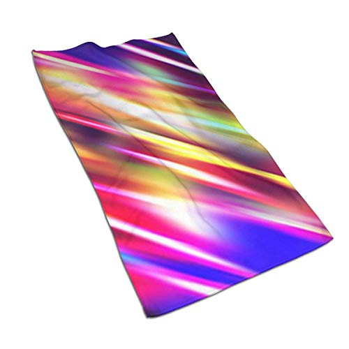 U/K Toallas de mano con líneas iluminadas de arco iris, toalla de baño, ultra suave, altamente absorbente, pequeña toalla de baño decoración