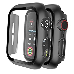 Tauri 2 Pack Hard Case Compatible for Apple Watch Series 3 2 1 42mm Built in 9H Tempered Glass Screen Protector Slim… 3